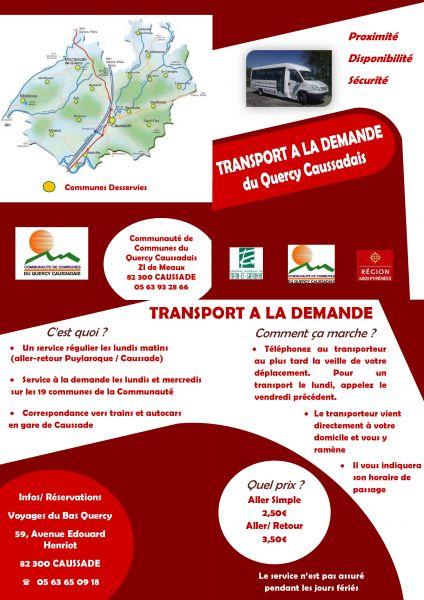 Nos prestations - Voyages du Bas Quercy - Transport a la demande du Quercy Caussadais.